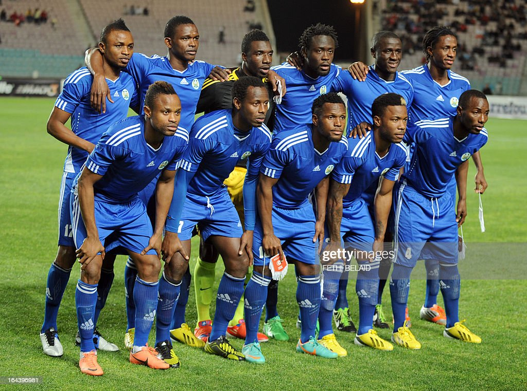Sierra Leone's national football team poses before their FIFA 2014 World Cup qualifying match against Tunisia on March 23, 2013 at the Rades stadium in Tunis. Tunisia won 2-1. AFP PHOTO / FETHI BELAID