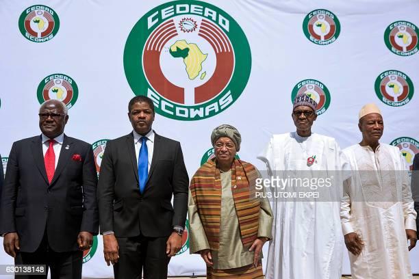 Sierra Leon's President Ernest Bai Koroma President of ECOWAS official Marcel Alain de Souza Liberian President and Ecowas Chairperson Ellen Johnson...