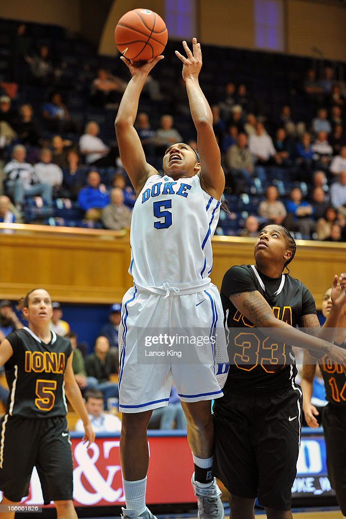 Sierra Moore #5 of the Duke Blue Devils goes to the hoop against Shonice Hawkins #33 of the Iona Gaels at Cameron Indoor Stadium on November 18, 2012 in Durham, North Carolina. Duke defeated Iona 100-31.