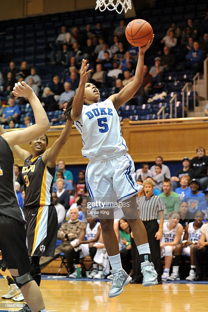 Sierra Moore #5 of the Duke Blue Devils goes to the hoop against the Valparaiso Crusaders at Cameron Indoor Stadium on November 23, 2012 in Durham, North Carolina. Duke defeated Valparaiso 90-45.