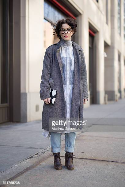 Sierra Odessa is seen on Oak Street wearing Warby Parker glasses vintage herringbone jacket cotton patchwork schmock Madewell spotted black/white...