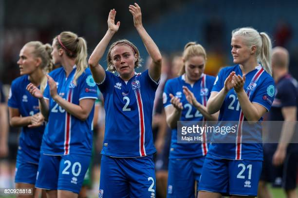 Sif Atladottir of Iceland and the team react after the UEFA Women's Euro 2017 Group C match between Iceland and Switzerland at Stadion De Vijverberg...