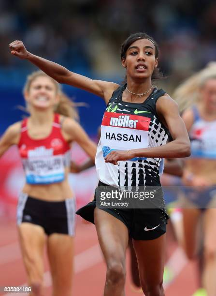 Sifan Hassan of Holland wins the Women's 3000m race during the Muller Grand Prix Birmingham meeting at Alexander Stadium on August 20 2017 in...