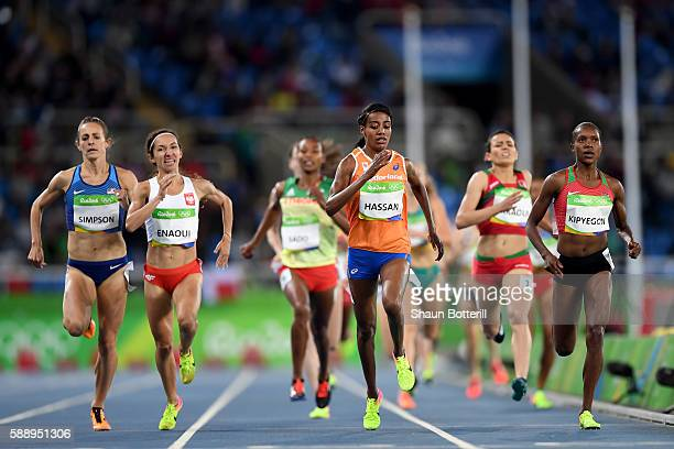 Sifan Hassan of the Netherlands Faith Chepngetich Kipyegon of Kenya Jennifer Simpson of the United States and Sofia Ennaoui of Poland compete in...