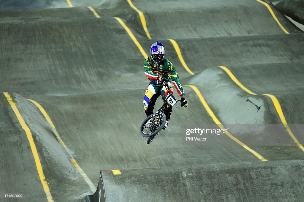 Sifiso Nhlapo of South Africa competes in the Elite Mens time trial during day four of the UCI BMX World Championships at Vector Arena on July 27, 2013 in Auckland, New Zealand.
