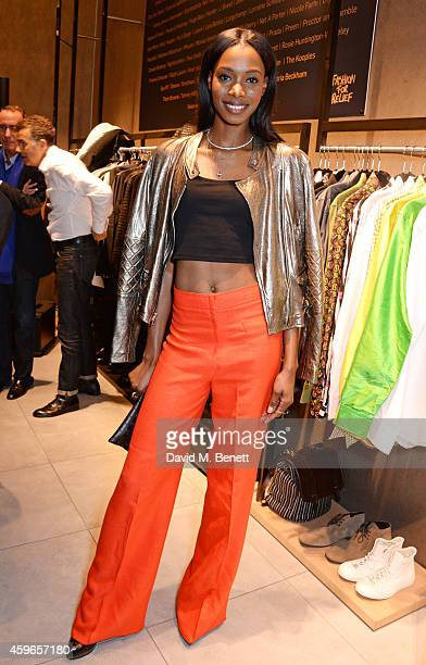 Sigail Currie attends as Naomi Campbell launches the Fashion For Relief PopUp at The Village Westfield London on November 27 2014 in London England...