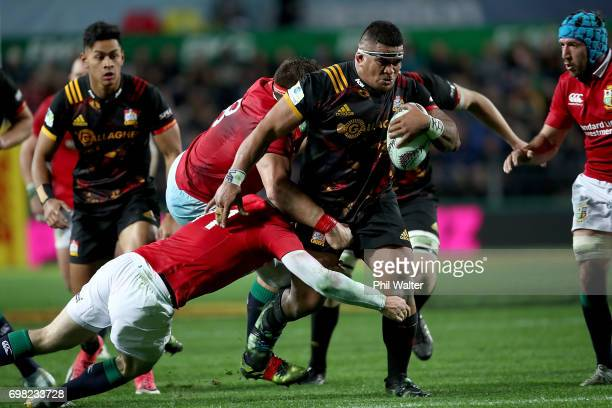 Sigfried Fisiihoi of the Chiefs is tackled during the match between the Chiefs and the British Irish Lions at Waikato Stadium on June 20 2017 in...