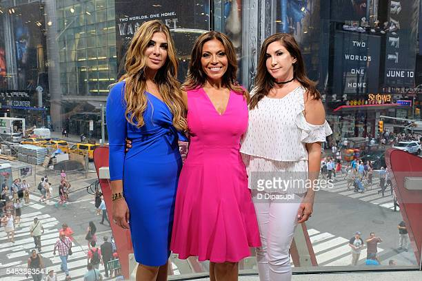 Siggy Flicker Dolores Catania and Jacqueline Laurita visit 'Extra' at their New York studios at HM in Times Square on July 7 2016 in New York City
