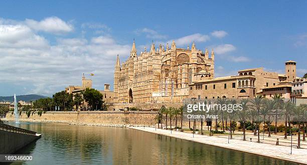 Sight of the Gothic cathedral and the Palace of the Almudaina from the Sea Park Balearics Islands Spain