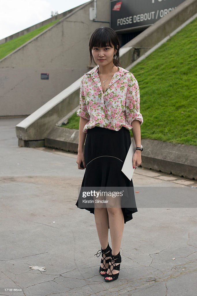 sightingFashoon Editor for Harpers Bazaar Korea Mirim Lee wears Zara shoes, Liberty shirt and an Alexander Wang skirt on day 3 of Paris Collections: Men on June 28, 2013 in Paris, France.