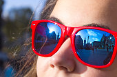 Glasses, reflection, mirror, portrait, girl, sights, close-up