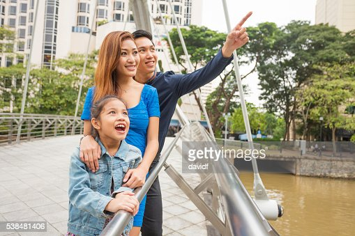 Sightseeing Happy Young Asian Family