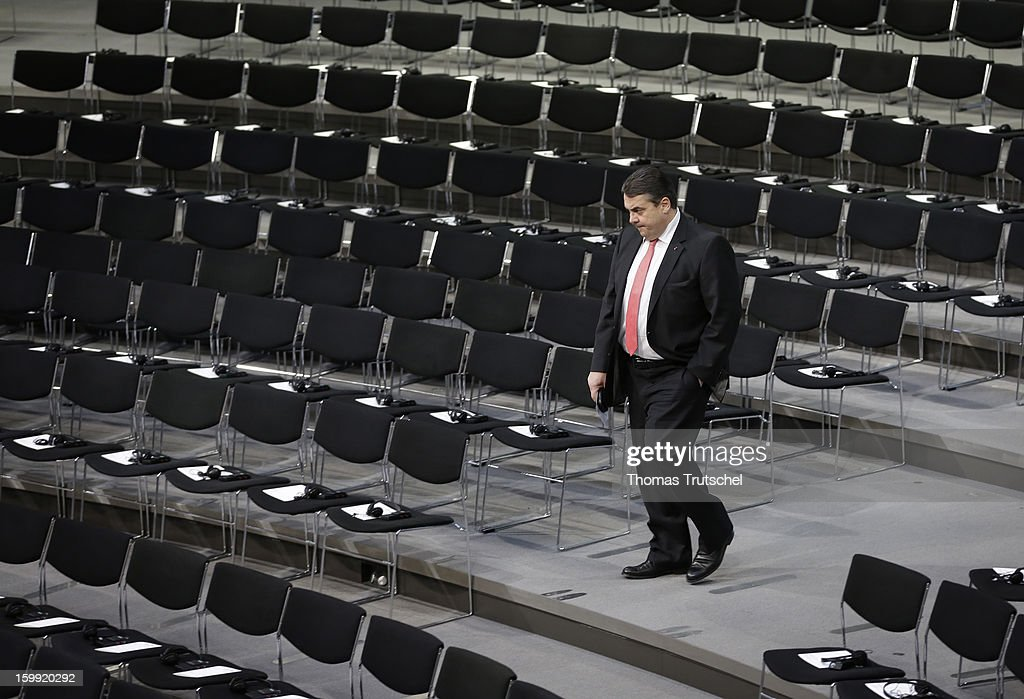Sigmar Gabriel, Chairman of German Social Democrats (SPD) is pictured in the Chamber of Reichstag, the seat of the German Parliament (Bundestag) on January 22, 2013 in Berlin.