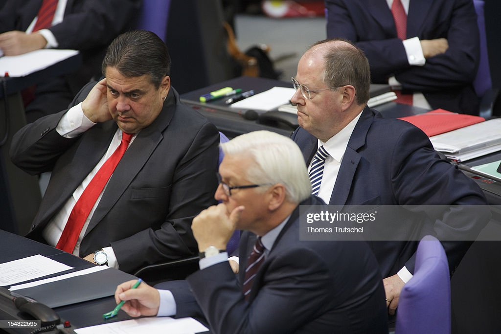 Sigmar Gabriel, Chairman of German Social Democrats (SPD), Peer Steinbrueck, Chancellor candidate of the German Social Democrats (SPD) for the 2013 general election , and SPD Bundestag faction leader Frank-Walter Steinmeier at Reichstag, the seat of the German Parliament (Bundestag), on October 18, 2012 in Berlin, Germany. European Union leaders are expected to focus on economic and monetary policies as they gather for the two-day Autumn meeting starting today in Brussels.