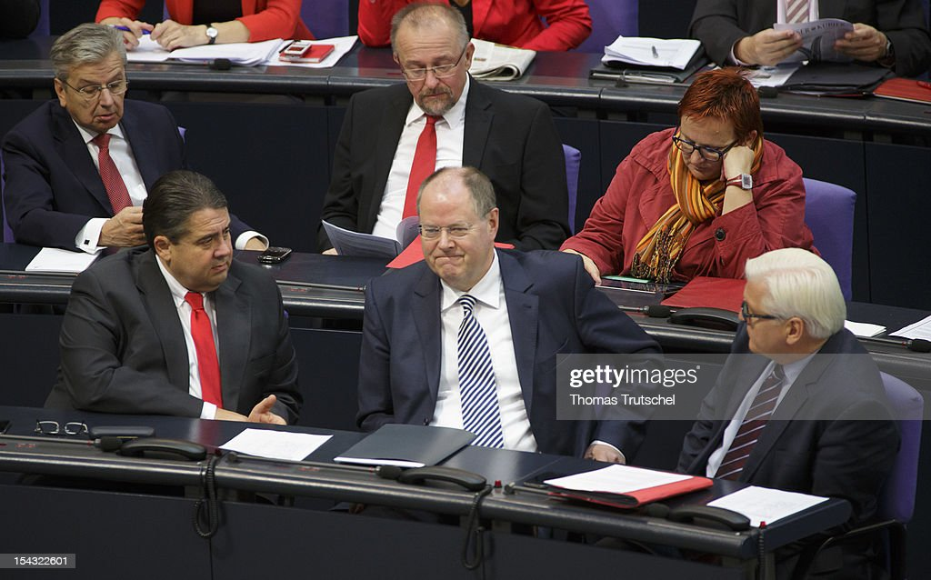 Sigmar Gabriel, Chairman of German Social Democrats (SPD), Peer Steinbrueck, Chancellor candidate of the German Social Democrats (SPD) for the 2013 general election , and SPD Bundestag faction leader Frank-Walter Steinmeier sit at Reichstag, the seat of the German Parliament (Bundestag), on October 18, 2012 in Berlin, Germany. European Union leaders are expected to focus on economic and monetary policies as they gather for the two-day Autumn meeting starting today in Brussels.