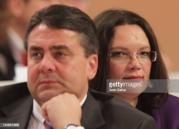 Sigmar Gabriel Chairman of the German Social Democrats and SPD General Secretary Andrea Nahles attend the SPD annual federal congress on December 4...