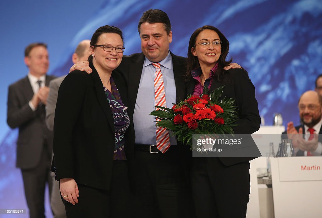 <a gi-track='captionPersonalityLinkClicked' href=/galleries/search?phrase=Sigmar+Gabriel&family=editorial&specificpeople=543927 ng-click='$event.stopPropagation()'>Sigmar Gabriel</a>, German Vice Chancellor and Chairman of the German Social Democrats (SPD), poses with outgoing SPD General Secretary <a gi-track='captionPersonalityLinkClicked' href=/galleries/search?phrase=Andrea+Nahles&family=editorial&specificpeople=822618 ng-click='$event.stopPropagation()'>Andrea Nahles</a> (L) and newly-elected SPD General Secretary Yasmin Fahimi shortly after Fahimi received 88.5% of the vote of delegates to become the new General Secretary of the German Social Democrats (SPD) during a federal congress of the SPD on January 26, 2014 in Berlin, Germany. The SPD is holding a federal congress to elect its European Parliament candidates as well as to chart its domestic political future. The SPD is the junior member of the new German coalition government.