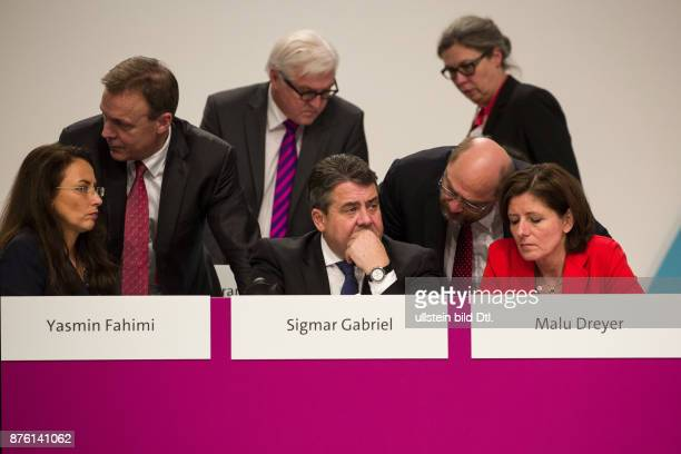 Sigmar Gabriel has been reelected as Chairman of the SPD on the federal party in Berlin on December 11 2015 1 Row Secretary General Yasmin Fahimi...