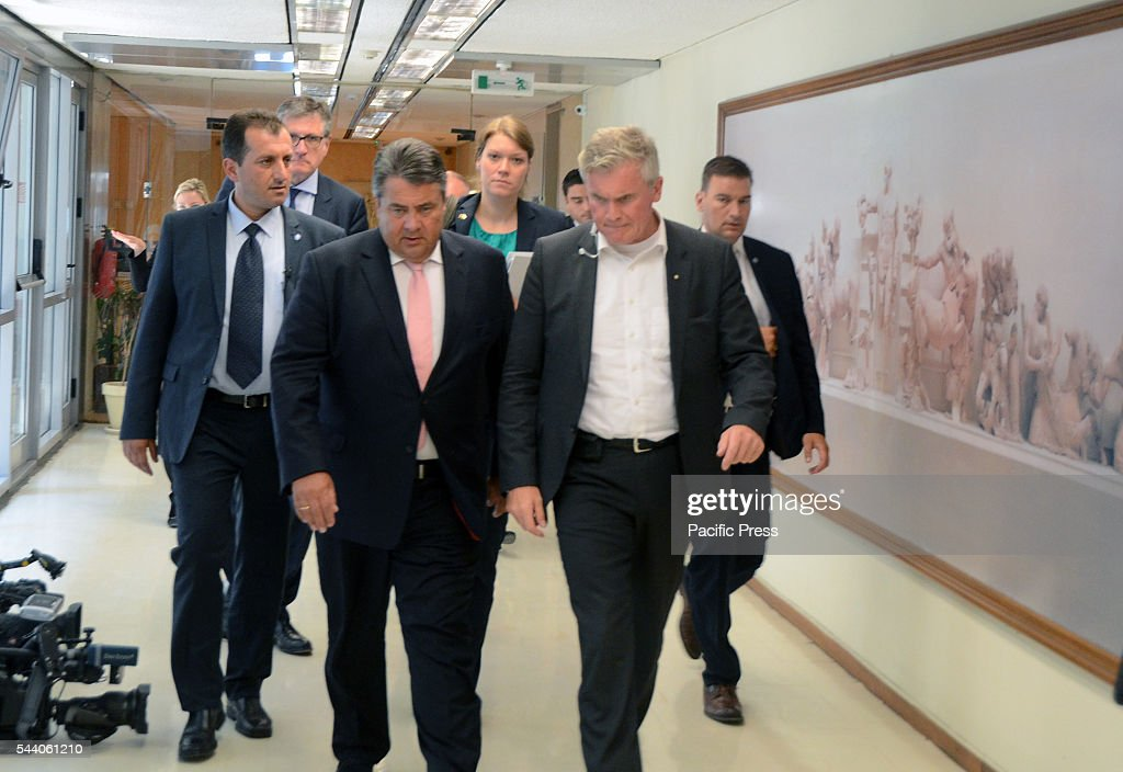 Sigmar Gabriel leaves the Meeting. Minister of Finance Euclid Tsakalotos meets with German Minister for Economic Affairs and Energy in the Greek ministry of Finance in Athens.