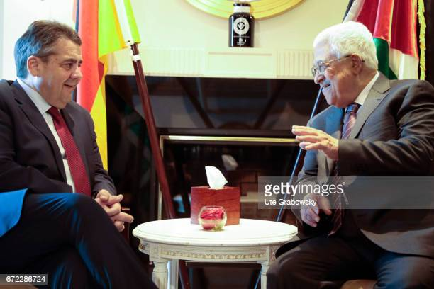 Sigmar Gabriel SPD Vice Chancellor and Federal Foreign Minister meets Mahmoud Abbas Palestinian President on March 24 2017 in Berlin Germany