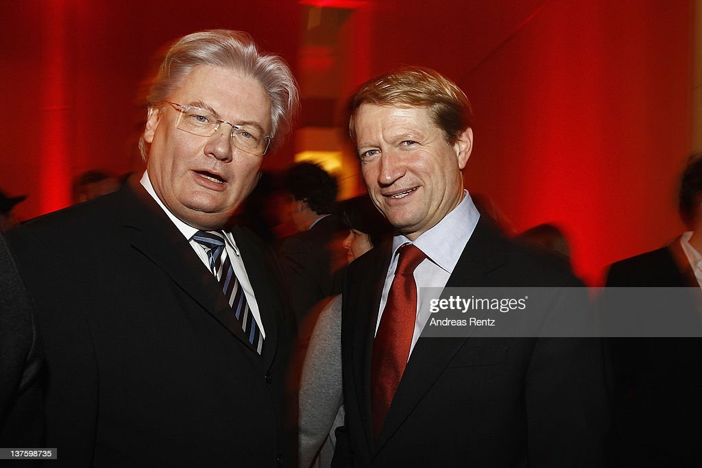 Sigmund Gottlieb and Ulrich Wilhelm attend the Chairmen & Speaker Dinner during the DLD Conference 2012 at the Jewish Community Centre on January 22, 2012 in Munich, Germany.