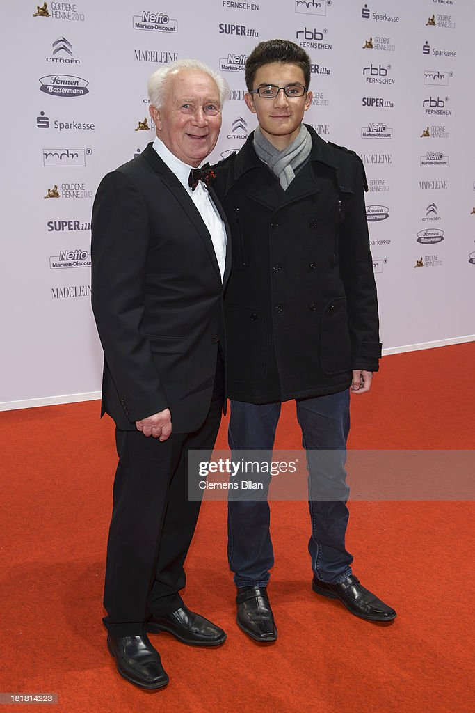 Sigmund Jaehn and his grandson Johannes arrive for the Goldene Henne 2013 award at Stage Theater on September 25, 2013 in Berlin, Germany.