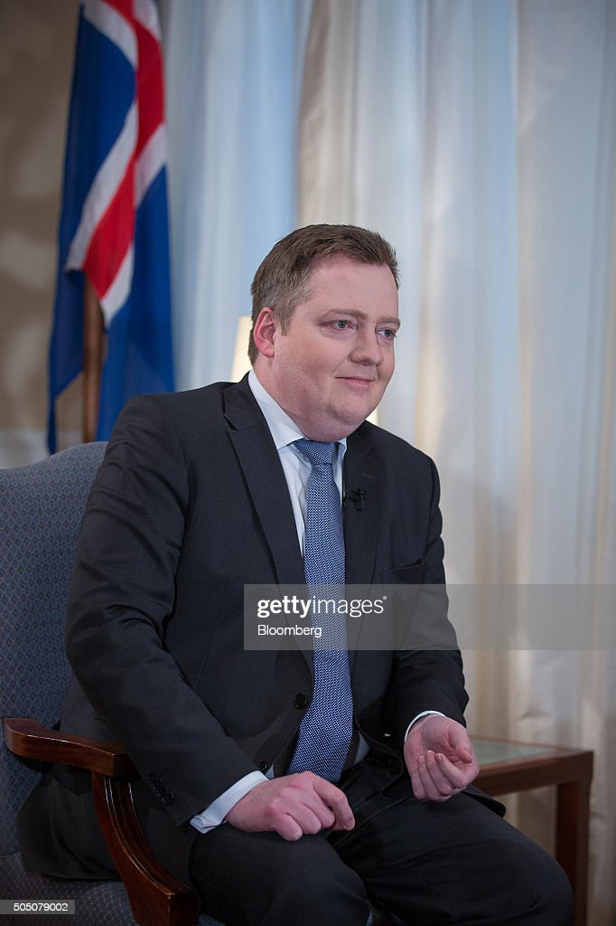 Sigmundur Gunnlaugsson, Iceland's prime minister, pauses during a Bloomberg Television interview at his office in Reykjavik, Iceland, on Thursday, Jan. 14, 2016. After releasing $17 billion in cash for creditors in its failed banks, the government is preparing to free a further 290 billion kronur ($2.2 billion) trapped for bond investors in March. Photographer: Arnaldur Halldorsson/Bloomberg via Getty Images