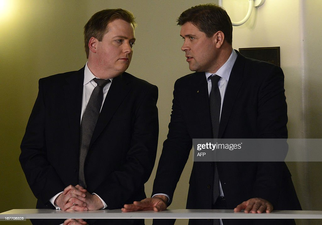 Sigmundur Gunnlaugsson, leader of Iceland's Progressive Party (L) and Bjarni Benediktsson (R) , leader of the Independence Party arrive at the state's TV station on election night in Reykjavík, Iceland on April 28, 2013. Iceland's centre-right opposition scored a clear victory in the island's parliamentary poll, allowing the two parties to kick off negotiations for a coalition government, a final count Sunday, April 28, 2013 showed.