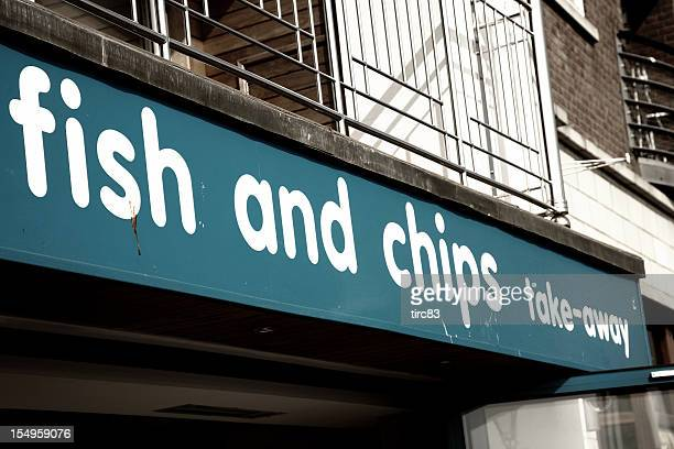 Sign above a typical UK fish and chip shop