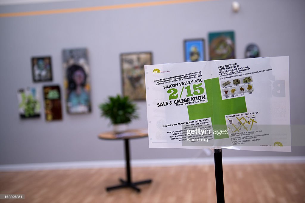 A sign advertises a sale event at the ARC Healing Center medical-marijuana dispensary in San Jose, California, U.S., on Thursday, Feb. 7, 2013. San Jose is the medical-marijuana capital of Silicon Valley with 106 clinics, about twice as many per square mile as Los Angeles. Photographer: David Paul Morris/Bloomberg via Getty Images