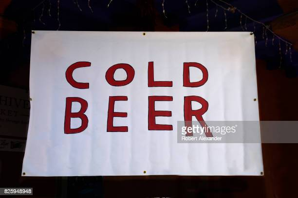 A sign advertises cold beer for sale in Santa Fe New Mexico