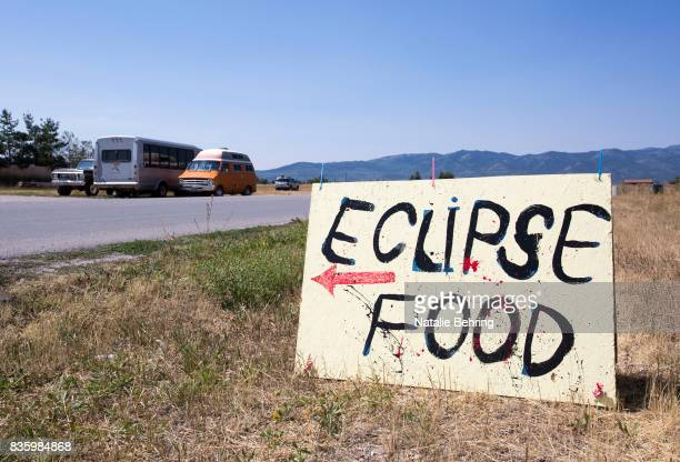 A sign advertises food for tourists on August 20 2017 in Victor Idaho The small town located directly beneath the path of totality expected an influx...