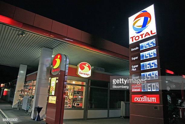 A sign advertises gas and diesel prices at a Total gas station on a highway in BadenWuerttemberg Germany on Thursday June 26 2008 Crude oil rose to a...