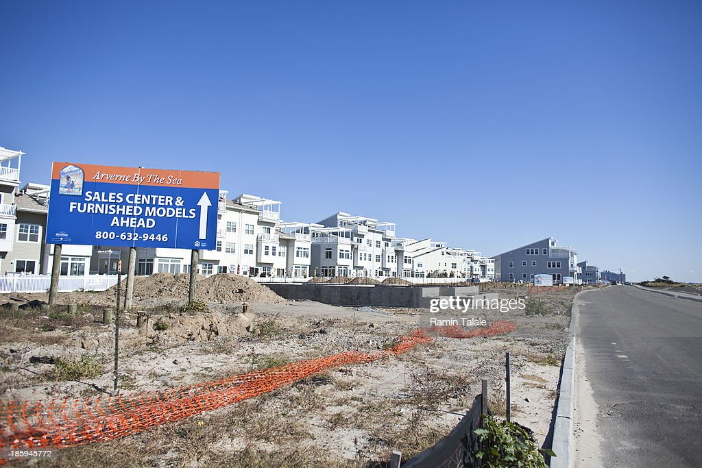 A sign advertises newly constructed beachfront development on October 26, 2013 in the Queens borough of New York City. Hurricane Sandy made landfall last year on October 29th near Brigantine, New Jersey and affected 24 states from Florida to Maine and cost the country an estimated $65 billion.