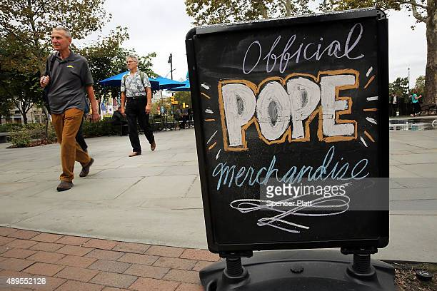 A sign advertises Pope Francis merchandise in downtown Philadelphia where Pope Francis is scheduled to visit on September 22 2015 in New York City...