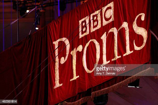 A sign advertises The BBC Proms before the First Night of The Proms at Royal Albert Hall on July 18 2014 in London United Kingdom
