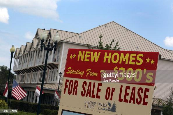 A sign advertising new homes for sale is seen on March 24 2010 in Davie Florida The Commerce Department announced that new home sales fell 22 percent...