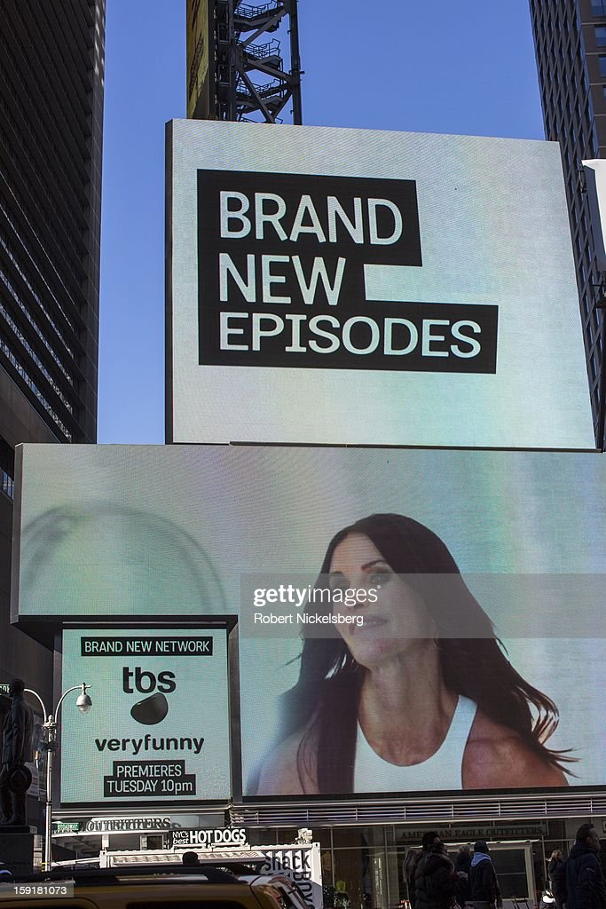 A sign advertising the television show 'Cougar Town' is visible on a building near Times Square January 7, 2013 in the Manhattan borough of New York.
