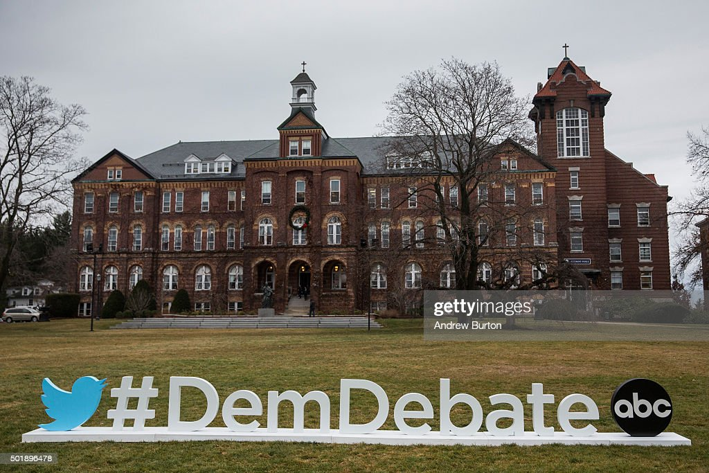 A sign advertising the upcoming Democratic debate is seen on the campus of Saint Anselm College on December 18 2015 in Manchester New Hampshire...