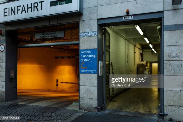 A sign advices to the entrance of the pickup and return station in the underground car park of the car sharing agency Cambio on November 13 2017 in...