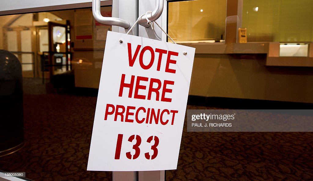 A sign advises Republican primary voters at precinct #133, at the Coliseum, in St. Petersburg, Florida. AFP Photo/Paul J. Richards