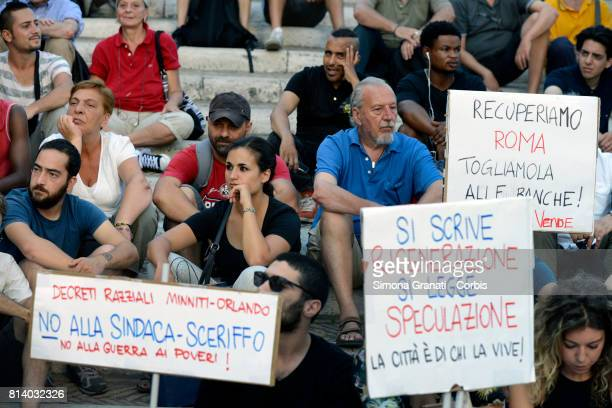 Sign against the mayor Virginia Raggi defined mayor sheriff on July 13 2017 in Rome Italy No one is illegal demonstration in Campidoglio against...