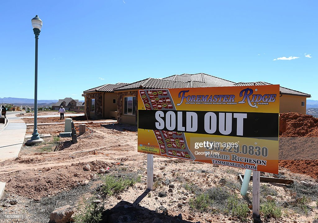 A sign alerts passersby that single family homes in this developement, many still under construction, are sold out September 27, 2013 in St. George, Utah. Housing starts on single-family rose at a faster pace in August, and building permits rose to a five-year high, according to published reports this week.