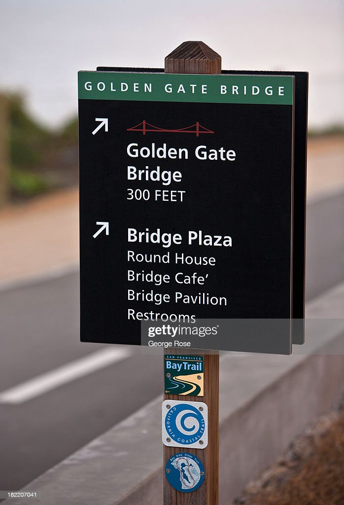 A sign along a Golden Gate Bridge bike path is viewed on February 13, 2013, in San Francisco, California. Some 13.6 million international travelers visit the State each year generating nearly $100 billion in revenue and creating approximately 900,000 jobs in the arts, entertainment, recreation, food service and accomodations sectors.