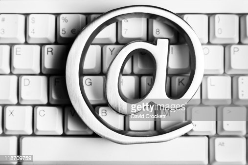 Sign and computer keyboard : Stock Photo