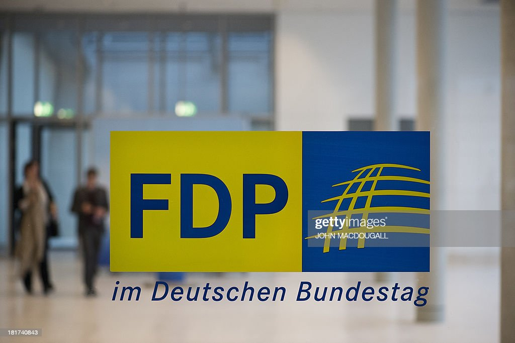 A sign announces the Liberal FDP party's office at the Bundestag lower house of parliament in Berlin on September 24, 2013. The FDP were voted out of parliament in the September 22 general elections.