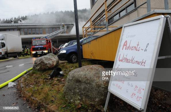 A sign announcing a christmas market stands in front of a house with a workshop for handicapped people in Titisee Neustadt southern Germany on...