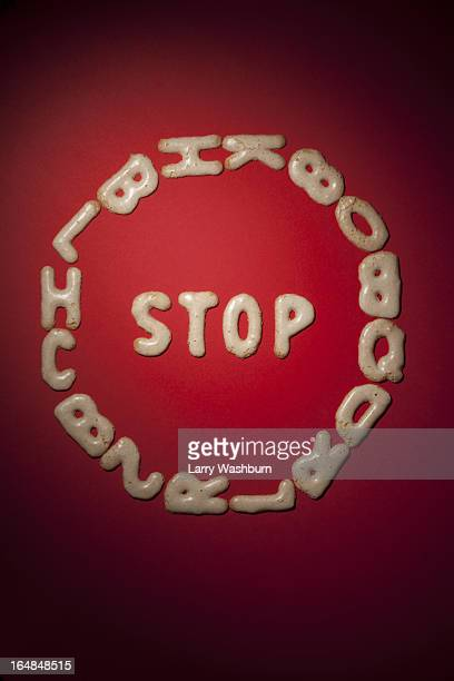 A STOP sign arranged in Russian bread cookies