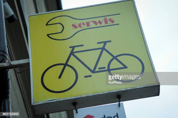 A sign at a bike shop is seen in Bydgoszcz Poland on 19 October 2017