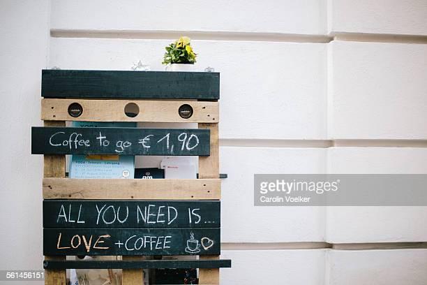 DIY sign at coffee shop